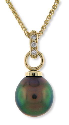 Tahitian Black Pearl pendant n diamond pave Bail