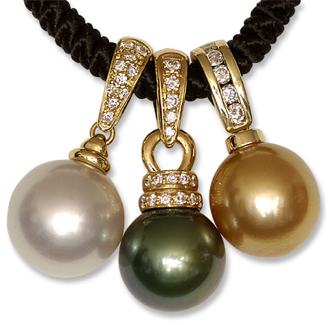 Pearl and Diamond enhancer Pendants