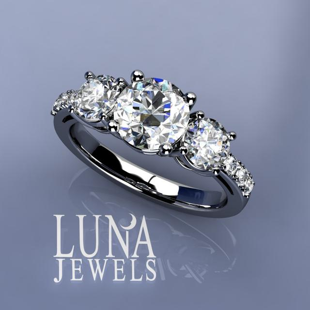 3stone ring with pave