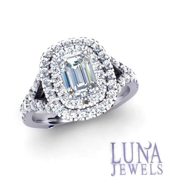 Diamond Double Halo with Emerald Cut Center