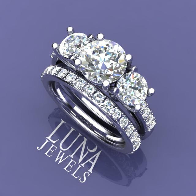 Diamond 3 Stone Trellis & Pave Ring set