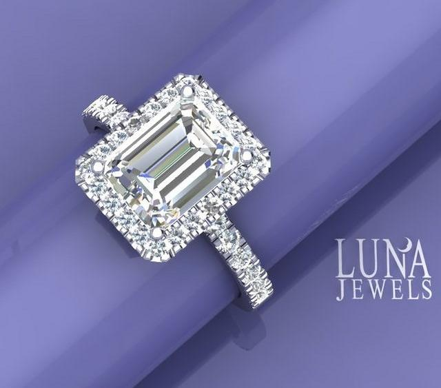 3ct Emerald Cut Diamond Halo Ring