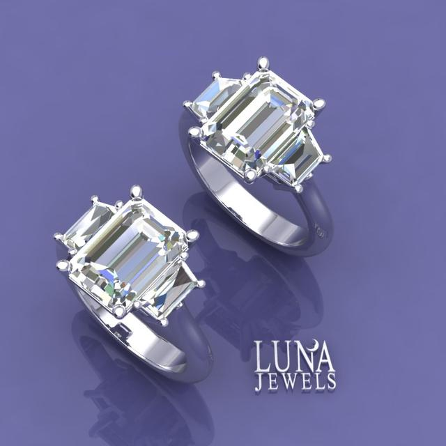Emerald Cut Diamond Three stone rings