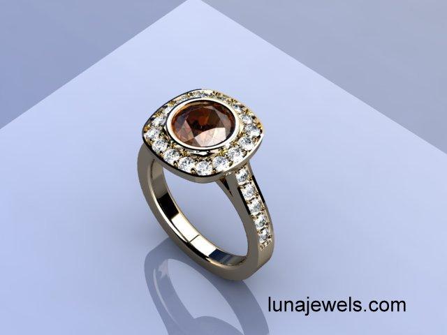 Round Cognac and white Diamond Ring