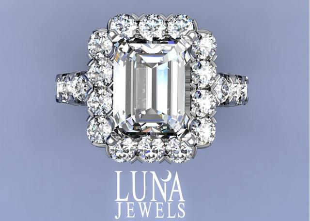 Emerald cut Diamond Halo Frame ring
