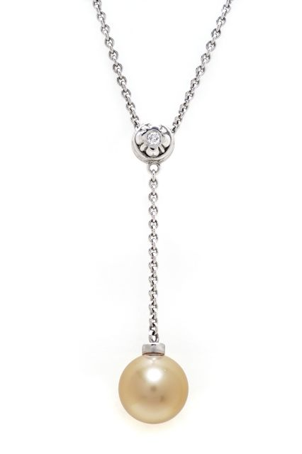 South Seas golden pearl necklace in 18K white gold and diamond