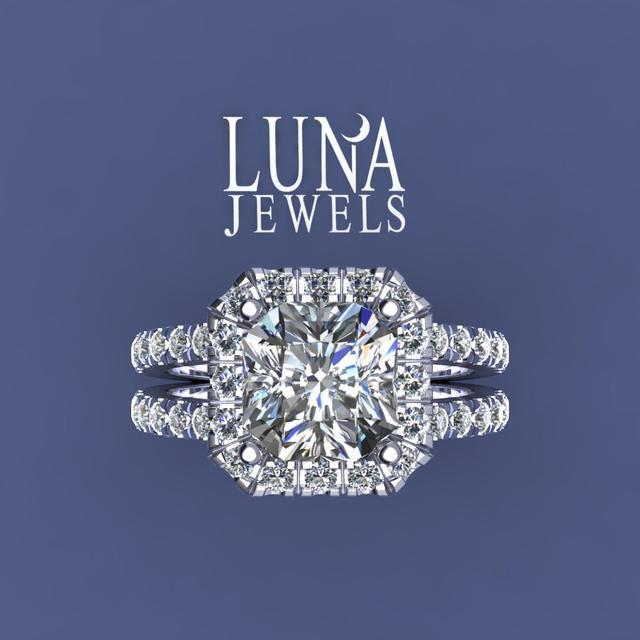 Radiant diamond antique cut pave Halo