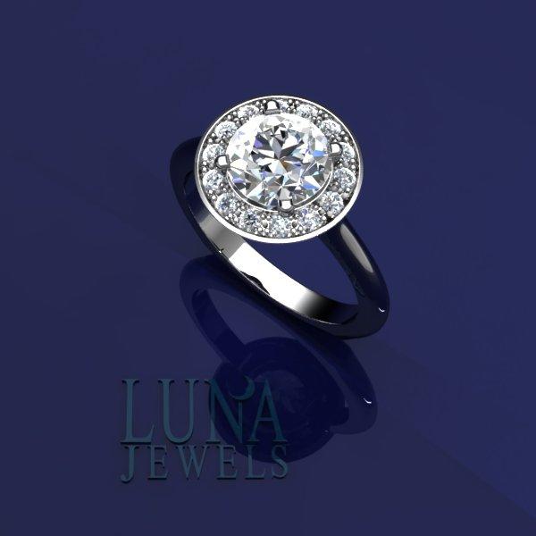 Simple Halo diamond ring