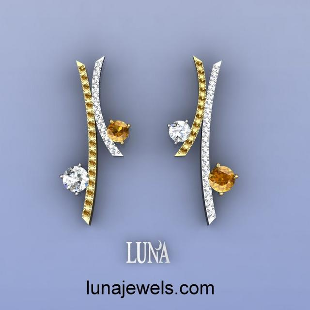 Sherry and White Diamond Earrings