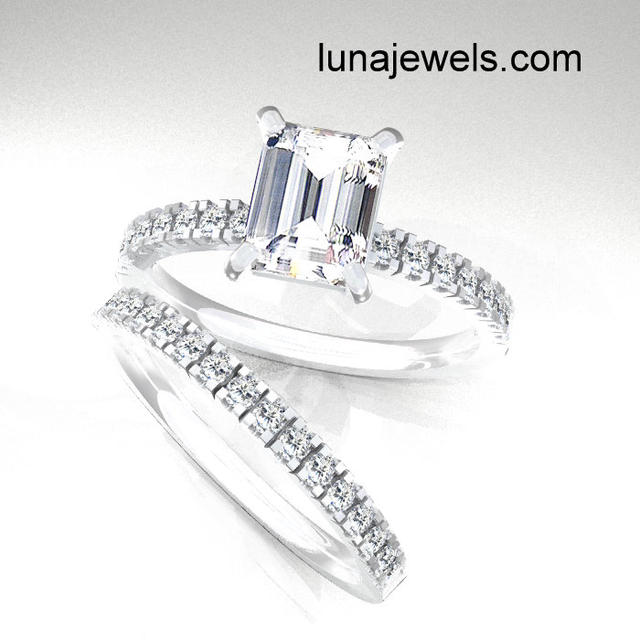 Emerald cut with micro pave ring set