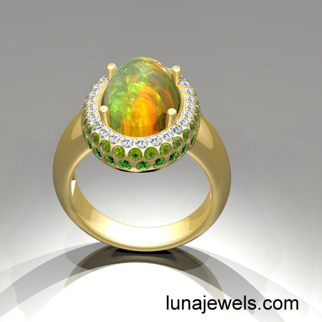 Opal with Pave ring