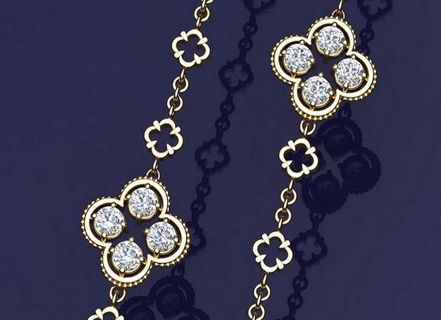 Quadrefoil diamond station necklace