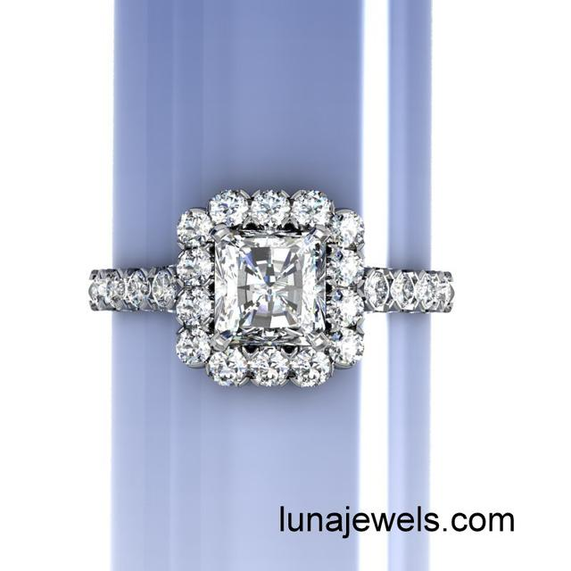 Diamond Frame Ring with Radiant