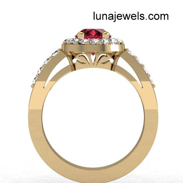 Ruby and Diamond Ring. Side view